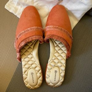 NEW Birdies Suede Ani Slipper Mules Coral Size 11